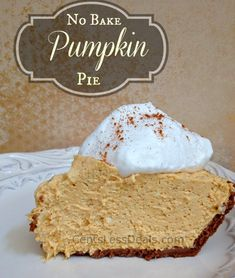 No Bake Pumpkin Extraordinary Pie: Graham Cracker Crust, 15 oz can Pumpkin Pie filling, Sm. Cool Whip, 1 tsp Cinn., 8 oz Cr.Cheese. In a med. bowl whip cr. cheese til fluffy. Add pie filling-low speed til blended. Add Cinn. then fold in Cool Whip just til blended...not perfectly smooth.  It's OK...Pour in crust and chill for 2 hrs before serving. Top with a dollop of Wh Cream and BE AMAZED.