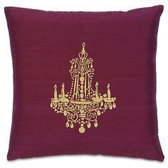Plum and gold chandelier pillow