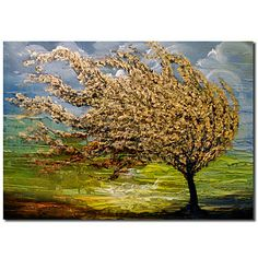 Hand Painted Oil Painting Landscape Tree of Life with Stretched Frame Ready to Hang - ct – USD $ 89.99