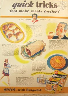 Quick Tricks from Betty Crocker, circa Cheesy waffles? Betty was ahead of her time. Funny Vintage Ads, Vintage Humor, Vintage Advertisements, Vintage Food, Retro Recipes, Old Recipes, Vintage Recipes, Retro Ads, Retro Food