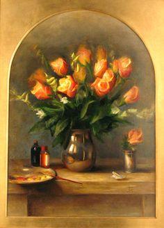Juliette Aristides, Roses, Oil on Panel, 36 x 24 Juliette Aristides, Cut Flowers, Flower Vases, Art Lessons, Still Life, Fine Art, Landscape, Gallery, Illustration