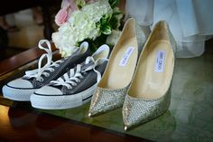 sparkly Jimmy Choos for Bride, black Converse for Groom