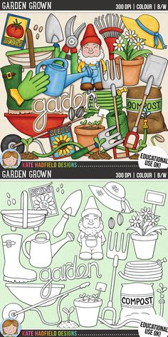 Cute gardening clip art for teachers! | Contains coloured clipart and black and white outlines at 300 dpi for highest quality printing for your resources and projects! | Hand-drawn clip art by Kate Hadfield Designs at Teachers Pay Teachers