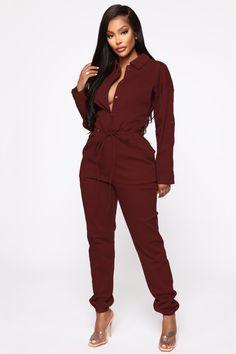 Your Choice Boiler Jumpsuit – Burgundy – fashion nova jeans high waist High Jeans, High Waist Jeans, Suit Fashion, Fashion Outfits, Fall Fashion, Burgundy Jumpsuit, Jumpsuit Dressy, Denim Jumpsuit, Burgundy Fashion