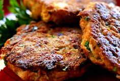 Salmon Cakes - easy and delicious. Use leftover salmon or canned, with breadcrumbs, egg, seasoning.