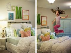 """Love Love Love the styling of this bed, the """"Rise and Shine"""" wall art, the big initial.. Love it!!"""