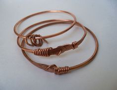 Copper wire wrapped and hammered bangle by DreamCornerJewelry,