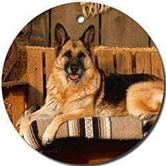 German Shepherd Dog Christmas Ornament round porcelain Christmas Great Gift Idea Visit our site now! #dogideas