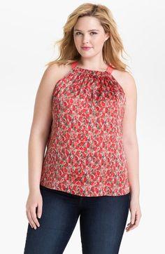 Curvy girl sleeveless print blouse