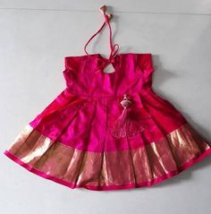 Indian traditional silk frock for girl baby infant dress party wear pattu pavadai -lehanga and choli festival wear pink dress Newborn Frocks For Babies, Baby Girl Frocks, Frocks For Girls, Frock Patterns, Baby Girl Dress Patterns, Baby Dress Design, Baby Frock Pattern, Kids Frocks Design, Baby Frocks Designs