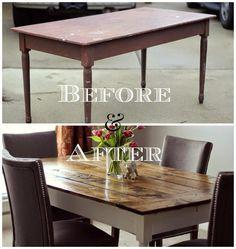 DIY Farmtable Tutorial. Easy Farm Table Hack! Build a farmhouse table top directly onto a salvaged table.
