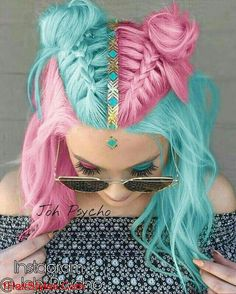 Pink blue hair Miladies net is part of Pink Hair Cuttie Miladies Net Hair Pink Hair Hair - Pink blue hair Miladies net Cute Hair Colors, Hair Dye Colors, Cool Hair Color, Crazy Hair Colour, Summer Hair Colour, Aqua Hair Color, Kids Hair Color, Pelo Multicolor, Cotton Candy Hair