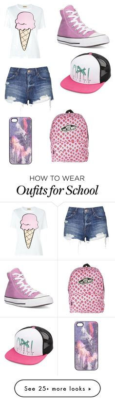 """Back to school"" by pandakeele on Polyvore featuring Peter Jensen, Topshop, Converse, Volcom, Samantha Warren London, Vans, women's clothing, women, female and woman"