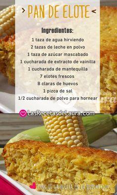 Deliciosa receta fácil de preparar, pan de elote en versión saludable.