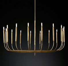 Would be so cool to replace in dining/formal living, but are $$$ - Quenouilles Round Chandelier Modern Brass | RH Modern