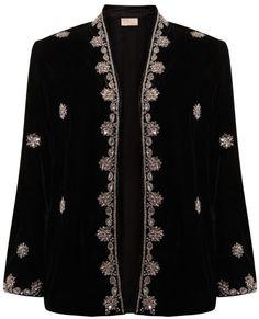 Embellished velvet, kimono style, jacket http://www.east.co.uk/