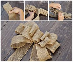 Best 12 Push dowels into floral foam about 5 inches apart. Wrap dowels 4 to 6 times – SkillOfKing. Burlap Crafts, Burlap Ribbon, Diy Ribbon, Ribbon Bows, Ribbons, Christmas Bows, Christmas Crafts, Christmas Decorations, Xmas