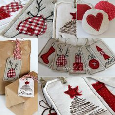 Diy idea how to make tutorial Fabric Tags Noel Christmas, Christmas Wrapping, Christmas Makes, Handmade Christmas, Christmas Ornaments, Christmas Sewing Gifts, Fabric Christmas Decorations, Christmas Fabric Crafts, Christmas Projects