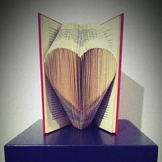 Pattern to fold a HEART symbol into a book by Bookfolding on Etsy
