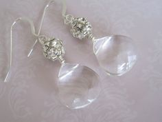 Swarovski Briolette with rhinestone cluster earrings by maylui