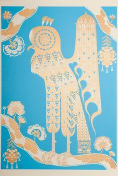 "{""Accipiter Striatus"" Silkscreen Print by Klaus Haapaniemi} Silk Screen Printing, Fantastic Art, Art Studies, Textures Patterns, Art Images, Graphic Illustration, Illustrations Posters, Folk Art, Asia"