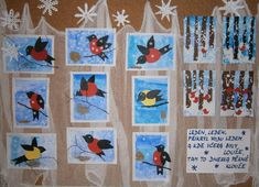 Winter Crafts For Kids, Winter Art, Primary School, Arts And Crafts, Birds, Holiday Decor, Christmas, Visual Arts, Projects