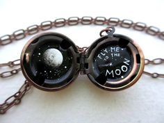 Hand-painted Moon Locket in Antique Copper - Black and White with Shooting Star and Full Moon