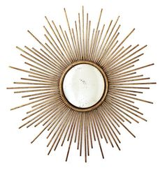 Sunburst Antiqued Gold Wall Mirror by Two's Company® - eclectic - mirrors - by Organize Gold Sunburst Mirror, Antique Gold Mirror, Metal Mirror, Diy Mirror, Wall Mirrors, Mirror Ideas, Bulb Mirror, Bedroom Mirrors, Master Bedroom