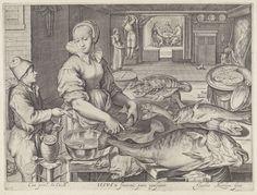 Keukenstuk met de maaltijd in Emmaüs, Jacob Matham, Rudolf II van Habsburg (Duits keizer), 1603