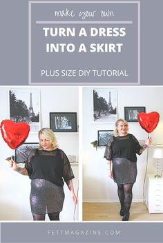 Plus size DIY. Turn a dress into a skirt.
