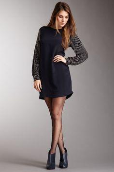 Studded Sleeve Tunic Dress
