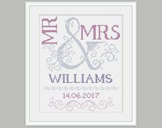 Scheme for cross stitch- Wedding Cross Stitch Pattern - Mr & Mrs. This is a digital Cross stitch pattern that you can instantly download from Etsy after purchase. Patterns include a full color chart with color symbols, a thread legend. The whole chart on one page, and also broken