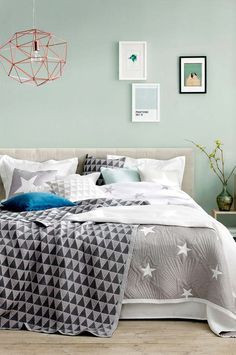 Mint Watery Bluegreen Walls Grey Accents Comfy Bedi Like The for sizing 1328 X 2000 Mint Green Bedroom Walls - Another fantastic idea is to buy miniature adhesive tiles and […] Green Bedroom Walls, Mint Green Walls, Gray Bedroom, Bedroom Colors, Home Decor Bedroom, Bedroom Furniture, Bedroom Ideas, Grey Bedding, Bedroom Designs
