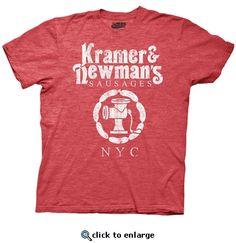 4c4cbf15 Seinfeld Kramer & Newmans Sausages Heather Red Mens T-Shirt Puffy Shirt,  Sausages,