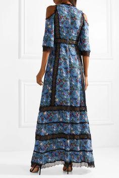 Alice + Olivia | Gatz lace-trimmed satin-crepe maxi dress | NET-A-PORTER.COM