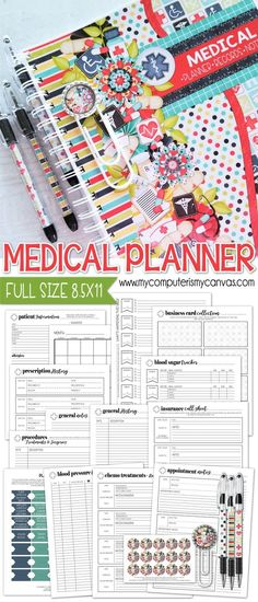 PRINTABLE Medical Planning Pages Medical Planner Patient Planner Chemo Logs Diabetic Tracker Blood Sugar Surgery Doctor Appointment Notes Prescription Log great gift fo. Free Printable Planner Stickers, Planner Free, Planner Pages, Happy Planner, Planner Ideas, Mom Planner, School Planner, Planner Inserts, Free Printables