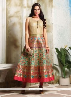 Trendy Multi Colour Embroidered Work Banarasi Silk Readymade Designer Suit Model: YOS7924