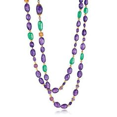 Verdura's Holiday 2013 Collection. Byzantine Bead Necklace.Amethyst, emerald, ruby, diamond and gold.