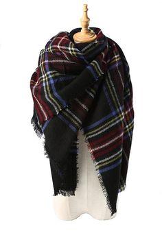 c137b5d52aae6 Yanekop Womens Big Blanket Scarf Soft Warm Tartan Plaid Scarf Shawl Fashion  Wrap(White Blue
