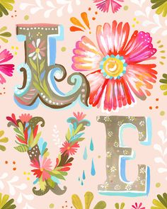 LOVE Block Letter Vertical Print Watercolor by thewheatfield