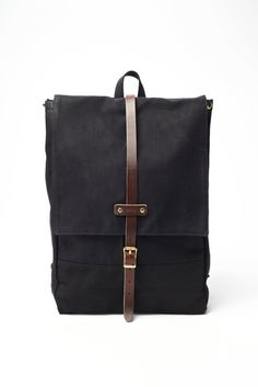 Archival Clothing, Rucksack, made in the usa, horween leather, backpack, waxed canvas, black, black backpack $260
