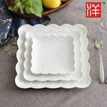 Platos de porcelana blanca carne bandeja de la cuchillería cubertería occidental plato de cerámica carne plato vajilla(China (Mainland))