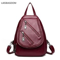 66f4e06fc6 Double Zipper Fashion Women Backpack Leisure PU Leather Backpack Student  Double Shoulder Bag Softback Girl Travel Bags. Yesterday s price  US  31.53  (28.05 ...