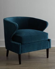Club chair in blue velvet