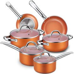 Saucepans & Stockpots Cookware, Dining & Bar 4pc Non Stick Casserole Stockpot Square Cookware Pot Set Die Cast Marble Pan Top Watermelons