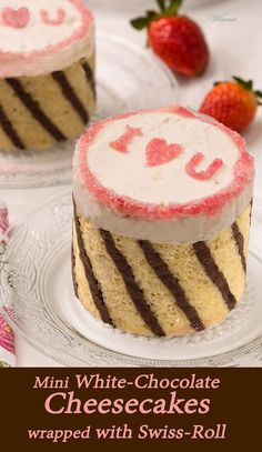 Mini White-Chocolate Cheesecakes, wrapped with Swiss-Roll.   http://www.winnish.net/2015/02/6583/