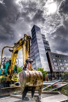 Stuttgart City Excavator - excavation site in stuttgart city