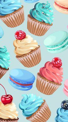 24 Ideas For Cupcakes Wallpaper Iphone Kawaii Cupcake Kunst, Cupcake Art, Cupcakes Wallpaper, Food Wallpaper, Macaron Wallpaper, Cute Wallpaper Backgrounds, Wallpaper Iphone Cute, Kawaii Wallpaper, Wallpaper Patterns