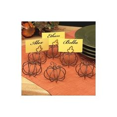 """ABC Products"" - {Fall Close-out} ~ Primitive Style - Set of 6 - Wire Metal Pumpkin - Place Card Holders - Personalize Your Place Table Settings (Wire Rustic color - Accented with a leaf and twig to Hold Card): $22 w/ ship"