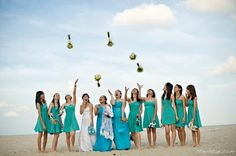 love the color of the short bridesmaids dresses